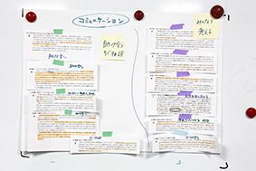 クレド編集ワークショップでクレドの元となる言葉や考えをまとめている様子